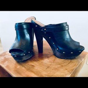 Aldo black high wooden heeled open toe Mule